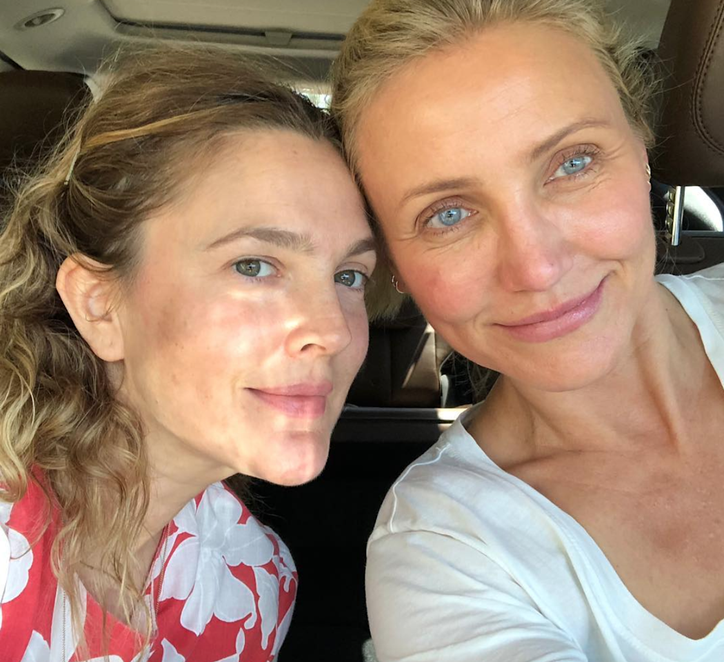 """For skin this great, take the advice of two-thirds of Charlie's Angels: #SUNSCREENALWAYS, as <a href=""""https://www.instagram.com/p/BlLlgA-g-P5/?utm_source=ig_share_sheet&igshid=6xfry79tsggz"""" rel=""""nofollow"""">Barrymore captioned this pic</a> on Insta."""