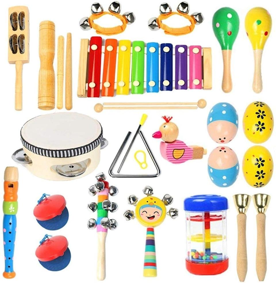 """Filled withshaking, tapping, beating and blowing instruments so your toddler can start their musical education at a young age. Maybe you have the next baby Mozart or even a baby Beatle.<br /><br /><strong>Promising review:</strong>""""I saw these and immediately thought: I cannot wait to buy this for my nephew and friend's kid because it's going to absolutely drive the parents insane.<strong>Unspoken rule of parenthood right? You buy other kids the stuff you know will make a ton of noise. I was not let down.</strong>It was delivered to my sister today and shortly after arrival I received the long-anticipated text, 'Did you send these devil tools?' Yes, sister, yes I did. I will most definitely be ordering another set for my friend's kid in a couple of weeks!"""" —<a href=""""https://amzn.to/2PdxU85"""" target=""""_blank"""" rel=""""noopener noreferrer"""">Amanda Wiley</a><br /><strong><br />Get it from Amazon for<a href=""""https://amzn.to/32EnUrO"""" target=""""_blank"""" rel=""""noopener noreferrer"""">$33.99</a>.</strong>"""