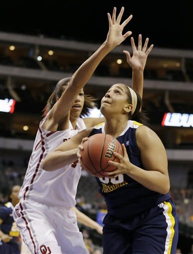 Oklahoma's Nicole Griffin, left, defends as West Virginia' Ayana Dunning, right, prepares to take a shot in the first half of an NCAA college basketball game in the Big 12 women's tournament Saturday, March 9, 2013, in Dallas. (AP Photo/Tony Gutierrez)