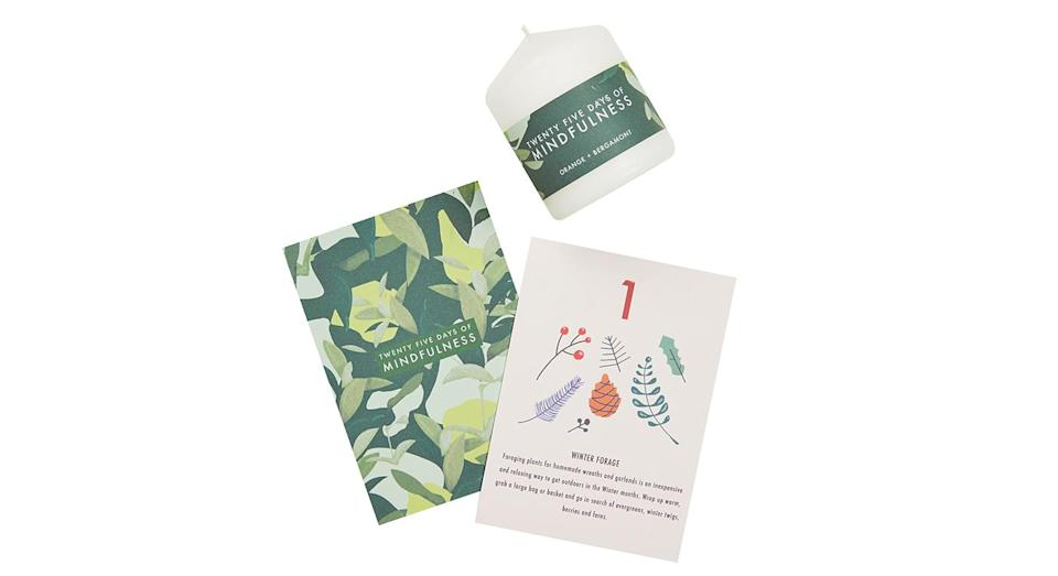 """<p>Mindfullness has been all the rage for the past few years. Encourage your inner calm with this collection of mindful endeavours. <em>Available from</em> <a rel=""""nofollow noopener"""" href=""""https://www.notonthehighstreet.com/bojourn/product/the-mindful-advent"""" target=""""_blank"""" data-ylk=""""slk:Not On The High Street"""" class=""""link rapid-noclick-resp""""><em>Not On The High Street</em></a>. </p>"""