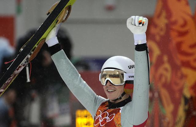 Germany's Eric Frenzel celebrates after his attempt during the Nordic combined individual Gundersen large hill competition at the 2014 Winter Olympics, Tuesday, Feb. 18, 2014, in Krasnaya Polyana, Russia. (AP Photo/Gregorio Borgia)
