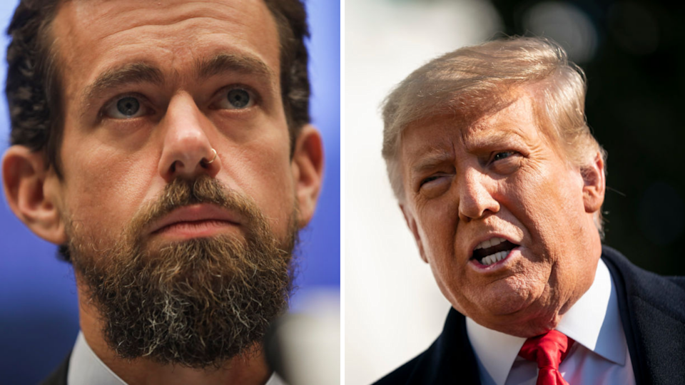 Twitter CEO Jack Dorsey weighs in on Trump bans. Source: Getty