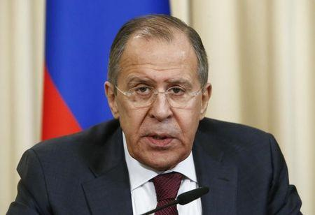 Russian Foreign Minister Sergei Lavrov attends a news conference in Moscow