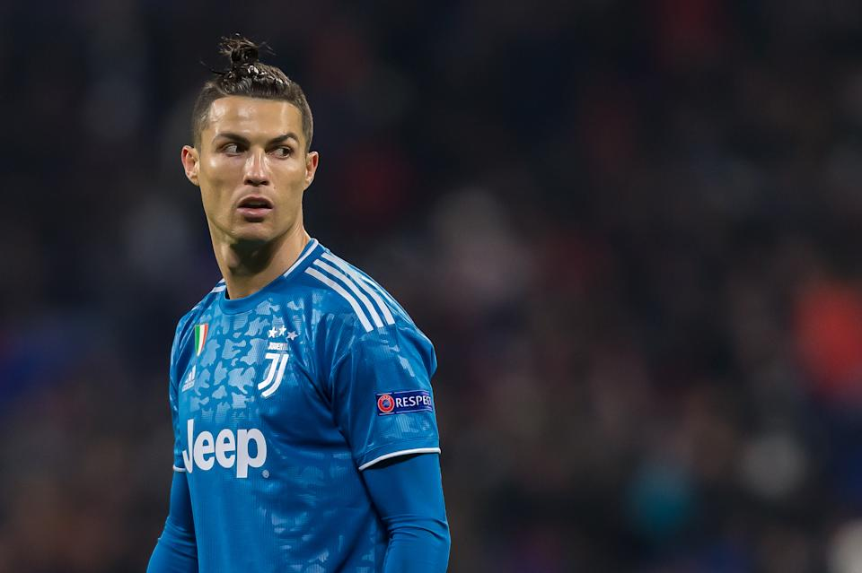 LYON, FRANCE - FEBRUARY 26: (BILD ZEITUNG OUT) Christiano Ronaldo of Juventus Looks on during the UEFA Champions League round of 16 first leg match between Olympique Lyon and Juventus at Parc Olympique on February 26, 2020 in Lyon, France. (Photo by Harry Langer/DeFodi Images via Getty Images)
