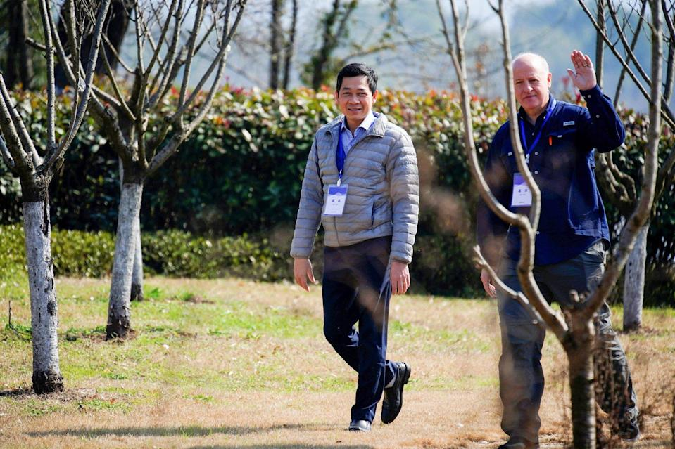 Hung Nguyen-Viet and his fellow WHO investigator Peter Daszak pictured during their visit to Wuhan earlier this year. Photo: Reuters