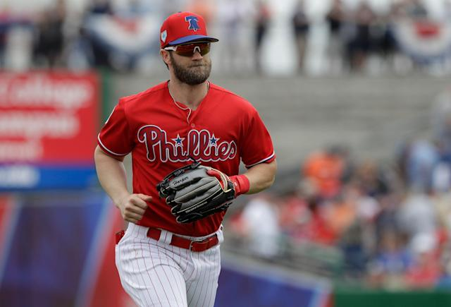 Right fielder Bryce Harper signed a historic $330 million, 13-year contract with the Phillies. (AP Photo)