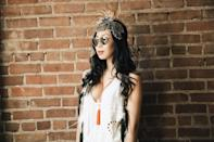 """<p>No festival wardrobe is complete without a boho chic-inspired outfit. This beautiful handmade headdress from <a href=""""http://www.aumi.nyc/"""" rel=""""nofollow noopener"""" target=""""_blank"""" data-ylk=""""slk:Aumi NYC"""" class=""""link rapid-noclick-resp"""">Aumi NYC </a>is a one of a kind tribal piece, and can be customized to order. Paired with an airy crepe romper and brushed gold sunnies from online shop, <a href=""""http://www.primaryny.com/"""" rel=""""nofollow noopener"""" target=""""_blank"""" data-ylk=""""slk:Primary."""" class=""""link rapid-noclick-resp"""">Primary.</a> Light, breathable fabrics are key to surviving the scorching hot sun and extreme heat of the desert. </p>"""