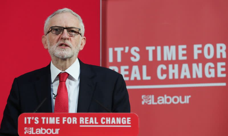 Britain's opposition Labour Party leader Jeremy Corbyn attends a news conference in London