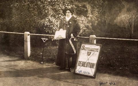This photograph shows Princess Sophia Duleep Singh selling 'The Suffragette' newspaper outside Hampton Court in April 1913 - Credit: MUSEUM OF LONDON
