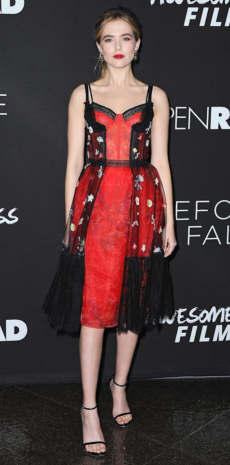 <p>Zoey Deutch was an absolute stunner at the <em>Before I Fall</em> premiere in this lingerie-inspired dress with a corset bodice, tulle and lace detailing, and floral embroidery. The actress kept the spotlight on the dress by pairing it with minimalist sandals and black and silver earrings by Irene Neuwirth.</p>