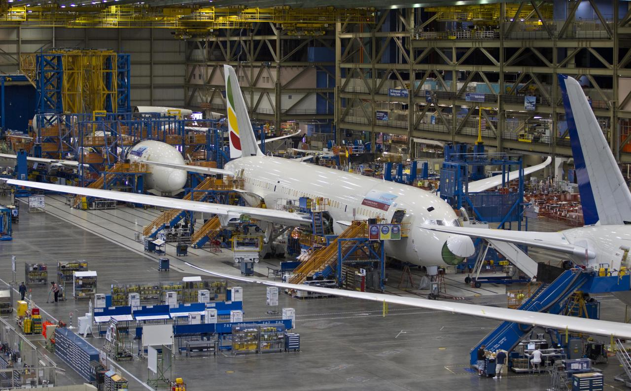 A line of Boeing Co. 787's sits at the assembly plant in Everett, Wash. on Sunday, Sept. 25, 2011. All Nippon Airways (ANA) is the first customer to take delivery of the 787. (AP Photo/John Froschauer)
