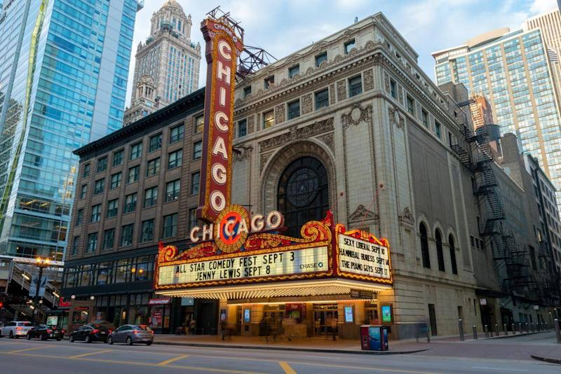 The famous Chicago Theatre lit up in the late afternoon (Getty)