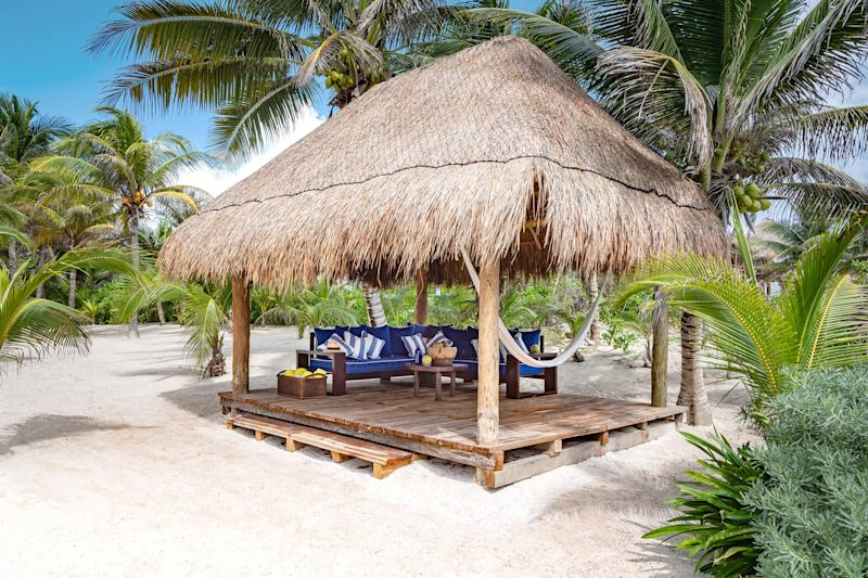 The accommodation's separate beach palapa is among its biggest draws.