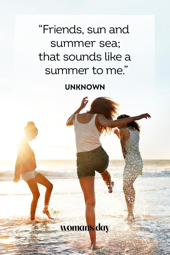 """<p>""""Friends, sun, and summer sea; that sounds like a summer to me.""""</p>"""