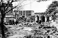 This photograph taken on July 24, 1971, shows destruction on the streets of Madhabpur during the Indo-Pakistan War of 1971. A Bangladeshi court has found a senior Islamist opposition official guilty of war crimes including genocide and torture during the 1971 liberation war against Pakistan