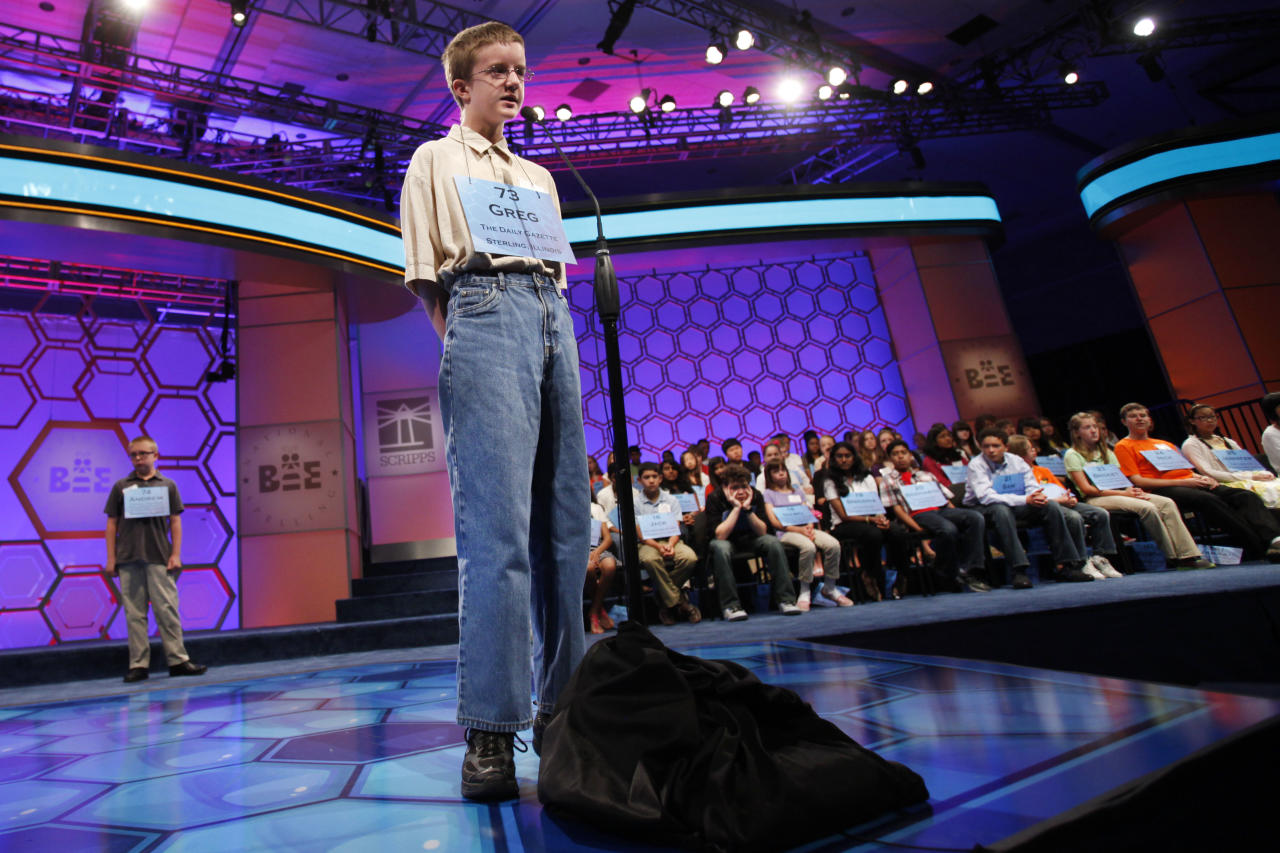 Greg Kessel, 14, of Rock Falls, Ill., competes in the National Spelling Bee, Wednesday, May 30, 2012, in Oxon Hill, Md. (AP Photo/Jacquelyn Martin)