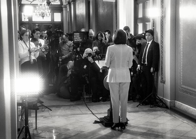 In a televised address given at the Capitol on the morning of December 5, Pelosi announces that the House of Representatives will begin drafting articles of impeachment. | Philip Montgomery for TIME