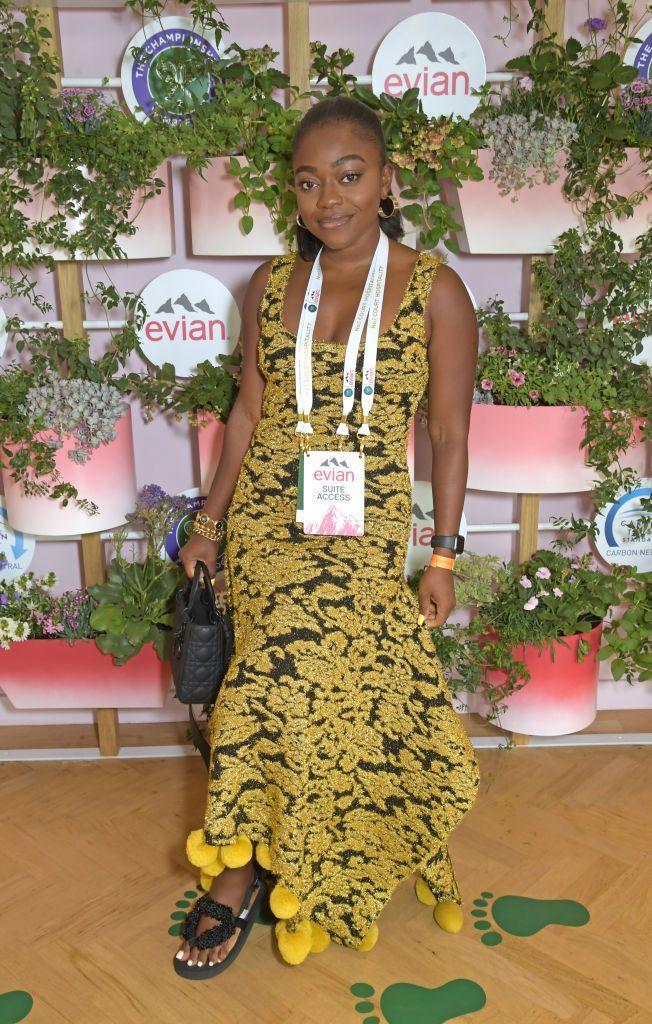 <p>The creative director behind Kai Collective attended the Evian Lounge at Wimbledon on the second day of the competition wearing a yellow and black summer dress.</p>