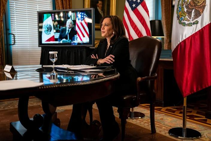 WASHINGTON, DC - MAY 07: Vice President Kamala Harris hosts a virtual bilateral meeting with President Andres Manuel Lopez of Mexico in the Vice President's Ceremonial Office in the Eisenhower Executive Office Building on the White House campus on Friday, May 7, 2021. (Kent Nishimura / Los Angeles Times)