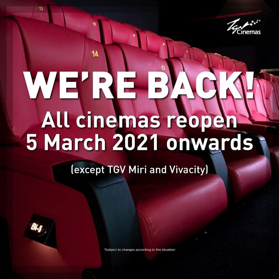 TGV Cinemas is eager to welcome moviegoers to its halls with a range of movies and offers. — Picture courtesy of TGVCinemas