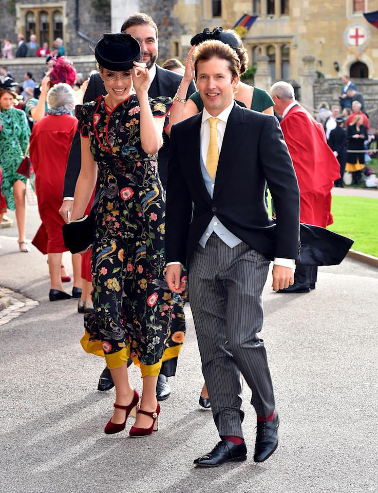 <p>Royal wedding regular James Blunt donned a smart three-piece suit for the ceremony while his wife Sofia Wellesley wore a floral-emblazoned dress. <em>[Photo: PA]</em> </p>