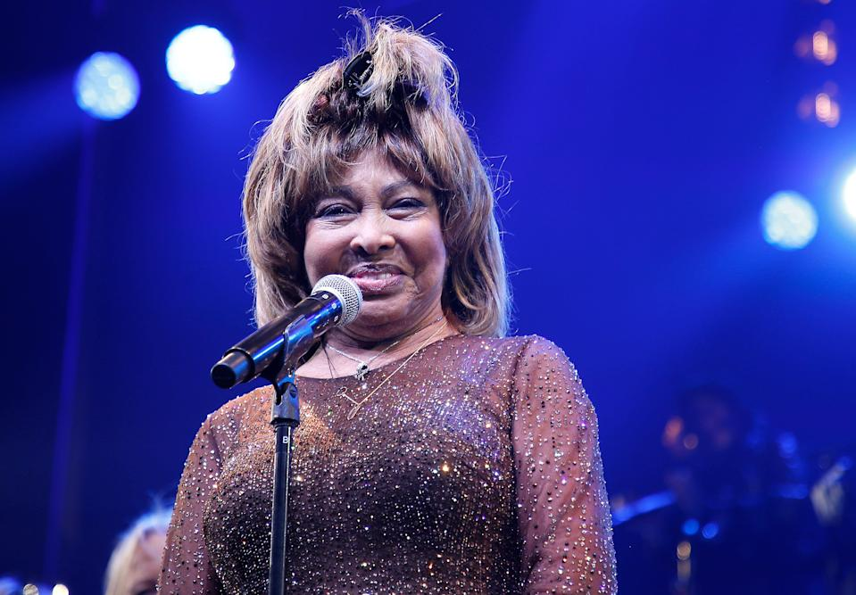 "Tina Turner speaks during the ""Tina - The Tina Turner Musical"" opening night at Lunt-Fontanne Theatre on Nov. 07, 2019, in New York City."