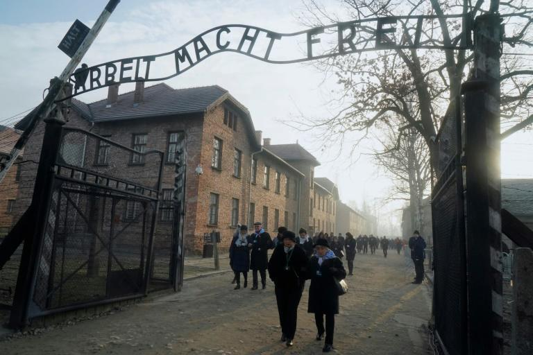 """The infamous gate with its inscription """"Work sets you free"""" greeted Jews and some others destined for Nazi gas chambers"""