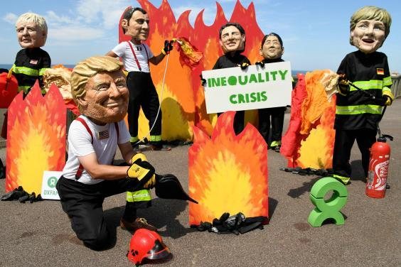 Anti-poverty demonstrators in Biarritz (AFP/Getty)