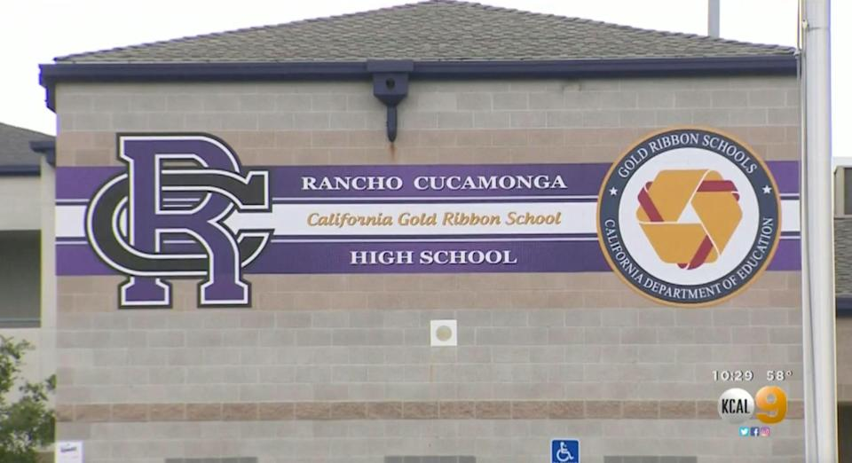 A part-time police officer and teacher at Rancho Cucamonga High School in California is reportedly suspended for keeping a gun in his classroom. (Screenshot: CBS LA)