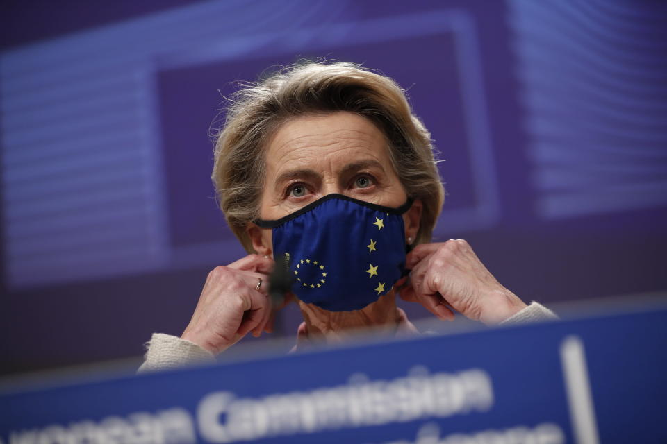 FILE - In this Thursday, Dec. 24, 2020 file photo, European Commission President Ursula von der Leyen prepares to address a media conference on Brexit negotiations at EU headquarters in Brussels. Eleven months after Britain's formal departure from the EU, Brexit becomes a fact of daily life on Friday, Jan. 1, 2021. Brexit marks the end of an awkward relationship. Britain joined the then-European Economic Community in 1973, but never fully embraced the bloc's project of ever-closer integration. (AP Photo/Francisco Seco, file)