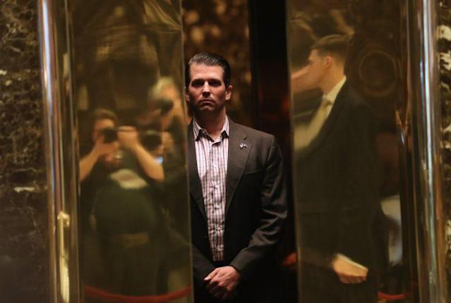 Donald Trump Jr. arrives at Trump Tower in New York City, January 2017. (Photo: John Moore/Getty Images)