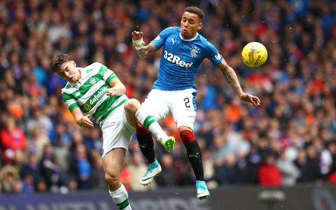 Kieran Tierney of Celtic and James Tavernier of Rangers battle for the ball - Credit: getty images