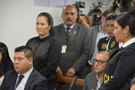 Opposition leader Keiko Fujimori attends a trial over allegations she used her conservative party to launder money for Brazilian construction company Odebrecht in Lima, Peru October 31, 2018. Courtesy of Justice Palace/ Handout via REUTERS