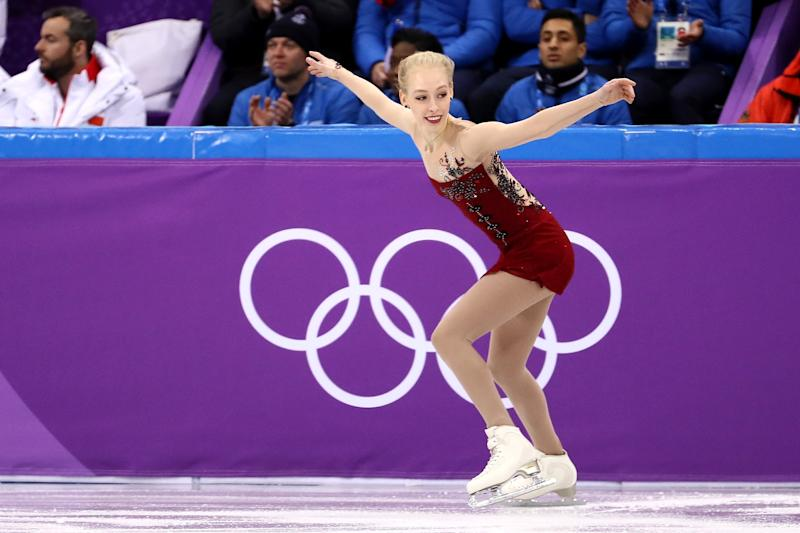 Bradie Tennell of the United States competes in the Figure Skating Team Event ? Ladies? Short Program on day two of the PyeongChang 2018 Winter Olympic Games at Gangneung Ice Arena on February 11, 2018 in Gangneung, South Korea.