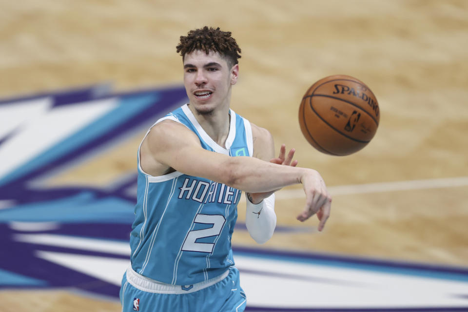 Charlotte Hornets guard LaMelo Ball is dominating the rookie of the year race. (AP Photo/Nell Redmond)
