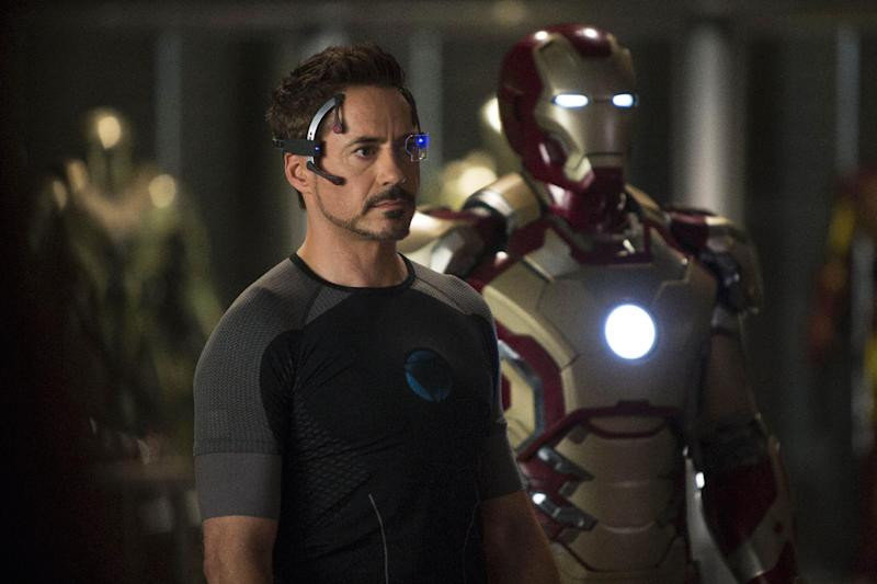 """This undated publicity image released by Marvel shows Robert Downey Jr., as Tony Stark/Iron Man, in a scene from """"Marvel's Iron Man 3.""""  (AP Photo/Marvel/Zade Rosenthal)"""