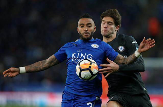 Soccer Football - FA Cup Quarter Final - Leicester City vs Chelsea - King Power Stadium, Leicester, Britain - March 18, 2018 Leicester City's Danny Simpson in action with Chelsea's Marcos Alonso REUTERS/Andrew Yates