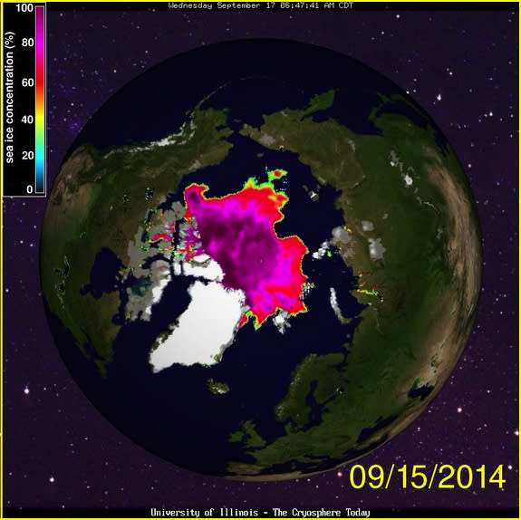 Sea ice concentrations on Sept. 15, 2014.
