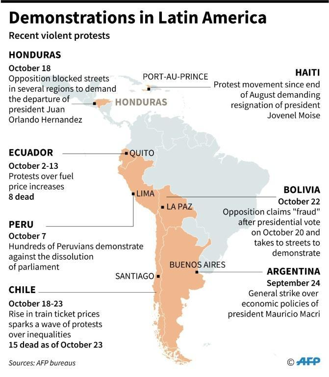 Map of Latin America showing countries where major protests have occurred in recent months (AFP Photo/)