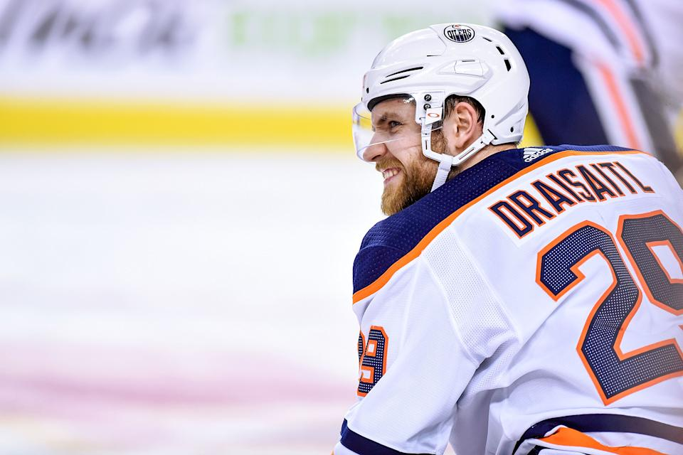 CALGARY, AB - JANUARY 11: Edmonton Oilers Center Leon Draisaitl (29) warms up before an NHL game where the Calgary Flames hosted the Edmonton Oilers on January 11, 2020, at the Scotiabank Saddledome in Calgary, AB. (Photo by Brett Holmes/Icon Sportswire via Getty Images)