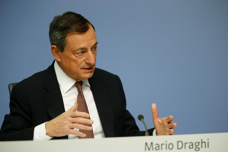 ECB President Draghi addresses a news conference at the ECB headquarters in Frankfurt