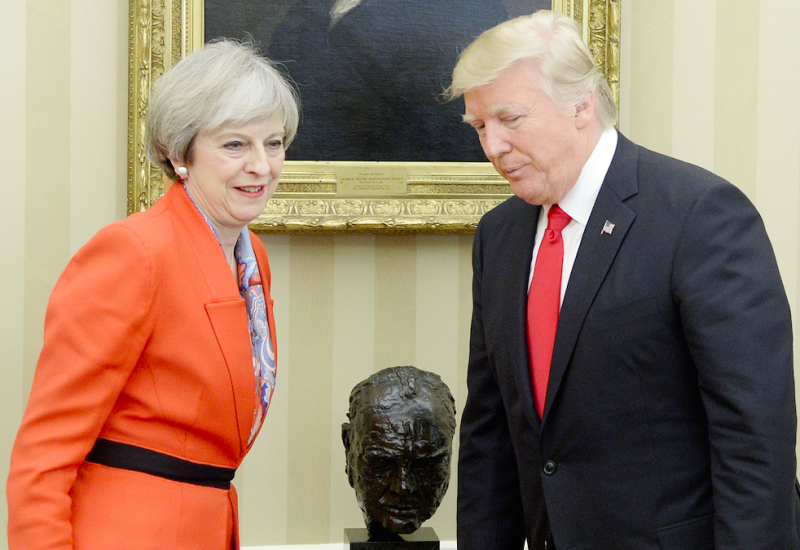 Trump dodges London protests for tea with Queen Elizabeth
