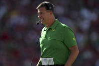 Oregon head coach Mario Cristobal coaches against Stanford during the second half of an NCAA college football game in Stanford, Calif., Saturday, Oct. 2, 2021. (AP Photo/Jed Jacobsohn)