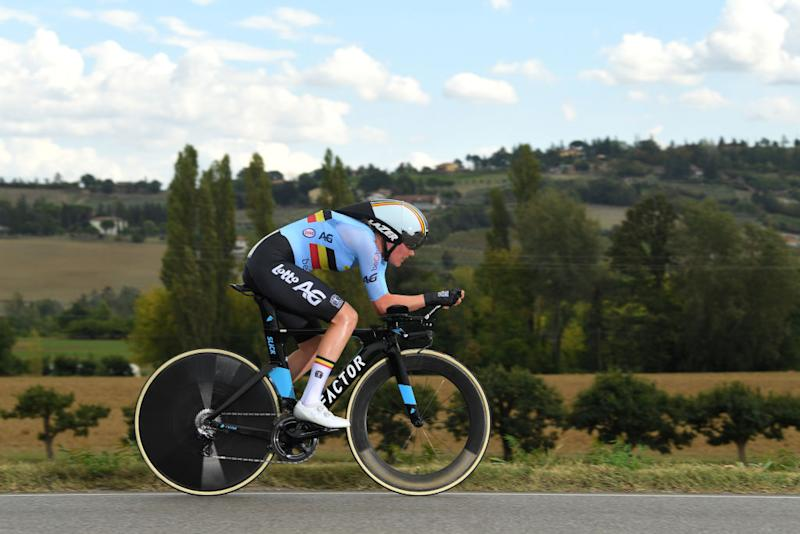 IMOLA ITALY SEPTEMBER 24 Ann Sophie Duyck of Belgium during the 93rd UCI Road World Championships 2020 Women Elite Individual Time Trial a 317km stage from Imola to Imola ITT ImolaEr2020 Imola2020 on September 24 2020 in Imola Italy Photo by Tim de WaeleGetty Images