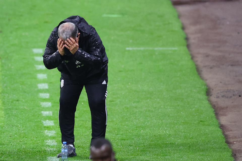 MEXICO CITY, MEXICO - SEPTEMBER 02: Gerardo Martino, head coach of Mexico reacts during the match between Mexico and Jamaica as part of the Concacaf 2022 FIFA World Cup Qualifier at Azteca Stadium on September 02, 2021 in Mexico City, Mexico. (Photo by Hector Vivas/Getty Images)