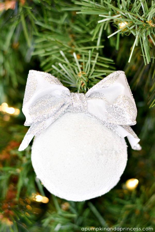 """<p>This white glitter-covered showstopper proves that sometimes simple is the most stunning. </p><p><em>Get the tutorial at <a href=""""https://apumpkinandaprincess.com/handmade-snowball-ornament/"""" rel=""""nofollow noopener"""" target=""""_blank"""" data-ylk=""""slk:A Pumpkin and a Princess"""" class=""""link rapid-noclick-resp"""">A Pumpkin and a Princess</a>.</em></p><p><a class=""""link rapid-noclick-resp"""" href=""""https://www.amazon.com/Pacon-Spectra-Sparkling-Crystals-91830/dp/B007VHRAW6/?tag=syn-yahoo-20&ascsubtag=%5Bartid%7C10072.g.34443405%5Bsrc%7Cyahoo-us"""" rel=""""nofollow noopener"""" target=""""_blank"""" data-ylk=""""slk:SHOP WHITE GLITTER"""">SHOP WHITE GLITTER</a></p>"""