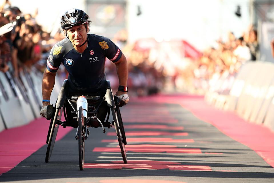 CERVIA, ITALY - SEPTEMBER 21: Alex Zanardi of Italy crosses the finish line in IRONMAN Italy on September 21, 2019 in Cervia, Italy. (Photo by Bryn Lennon/Getty Images for IRONMAN) (Photo: Bryn Lennon via Getty Images for IRONMAN)