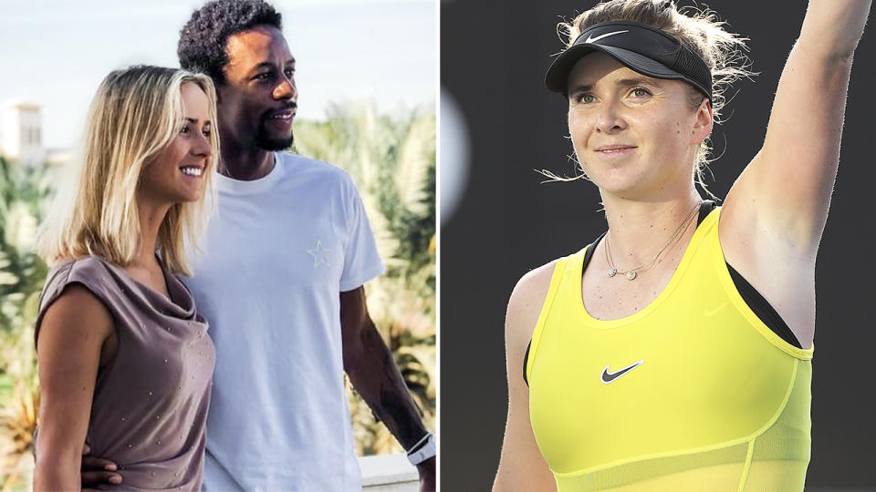 Elina Svitolina and Gael Monfils, pictured here in 2020.
