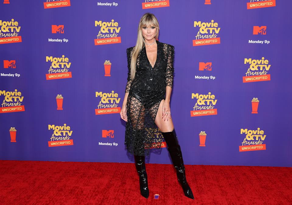 LOS ANGELES, CALIFORNIA - MAY 17: In this image released on May 17, Heidi Klum attends the 2021 MTV Movie & TV Awards: UNSCRIPTED in Los Angeles, California. (Photo by Amy Sussman/Getty Images)