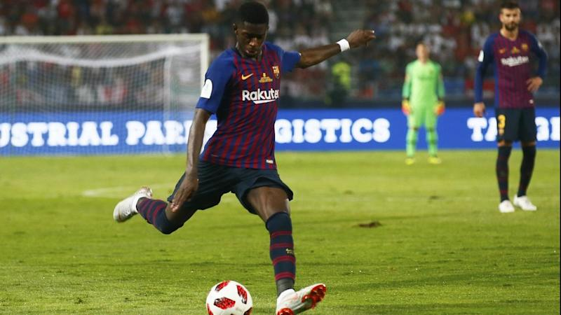 Barcelona's Ousmane Dembele scores his side's second goal in the Spanish Super Cup against Sevilla